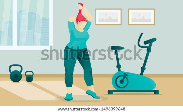 Cartoon Overweight Clubby Woman Character Gym Stock Vector Royalty Free 1496399648