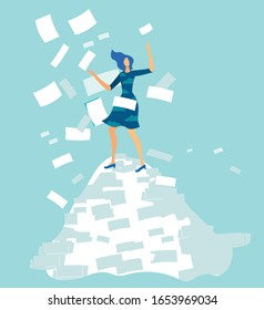Cartoon Overworked Woman Office Worker Standing on Document Pile under Paper Avalanche Rain. Tired Female Employee in Stress. Deadline, Information Overload. Vector Busy Clerk Flat Illustration