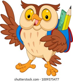 Cartoon owl with backpack