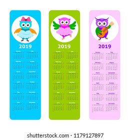 Cartoon owl calendar 2019. Kids bookmarks set with cute owl and calendar 2019
