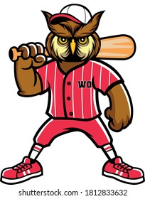 cartoon owl characters playing baseball with sports items for mascot design