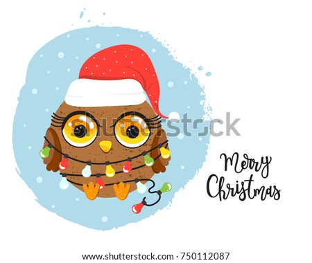 Cartoon Owl Christmas Lights Stock Vector (Royalty Free) 750112087 ...