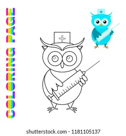 Cartoon Owl Doctor Coloring Page For Kids Cute With Big Syringe