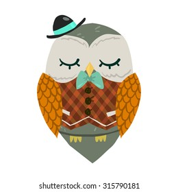 Cartoon owl flat mascot. The vector illustration for ui, web games, tablets, wallpapers, and patterns.