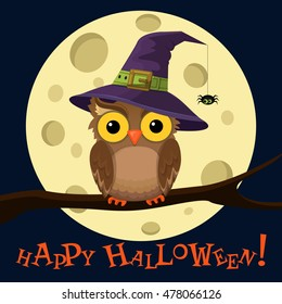 Cartoon owl in hat on moon background with little spider on a web. Halloween poster. Vector illustration