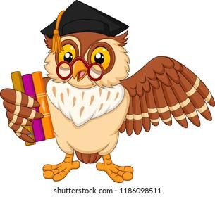 Cartoon owl holding a book