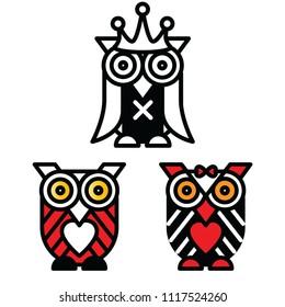 cartoon owl, icon, art