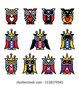 cartoon owl, icon, art