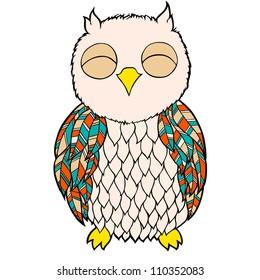 Cartoon owl on the white background. Cartoon bird. Vector illustration.