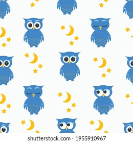 Cartoon owl seamless pattern. Repeat background of cute owls, moon and stars. Children's vector illustration. Postcard design, bed linen, wallpaper.