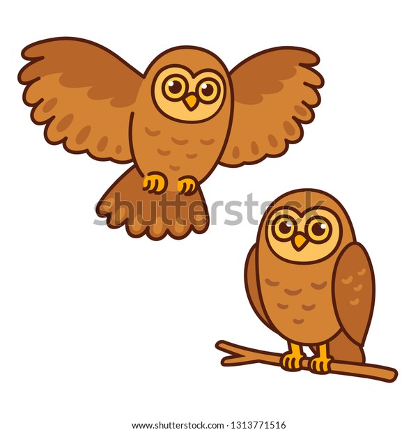 Cartoon owl set, sitting perched on branch and flying. Cute character drawing, isolated vector illustration