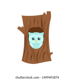 Cartoon Owl In Tree. Cute owl inside tree in hollow isolated on white background.  Cartoon bird character sitting in hollow of a tree. Vector Illustration in flat style
