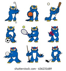 Cartoon owl vector icons of kid pet funny mascot character. Bird playing sport games rugby ball or football soccer and basketball, baseball bat, tennis racket and billiards cue or golf and hockey
