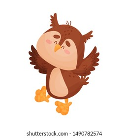 Cartoon owl. Vector illustration on a white background.