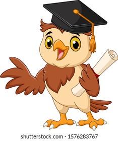 Cartoon owl wearing graduation cap holding diploma