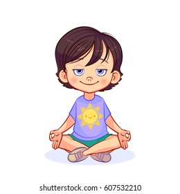 Cartoon pacified boy sits on the floor in a lotus position, crossing his legs and folding his fingers in a yoga gesture. Kids yoga vector illustration.