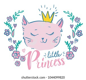 Cartoon painted cat face in the frame with flowers. Little princess print for t-shirt, clothes, postcard, wallpaper, web