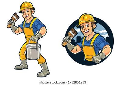 Cartoon Painter Mascot Logo Design