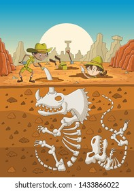 Cartoon paleontology kids working on excavation. Children digging dinosaurs fossil skeletons bones.