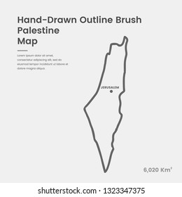 Cartoon Palestine Map, Hand Drawn Palestine Map, Doodle Palestine Map Vector Outline Style Map Information