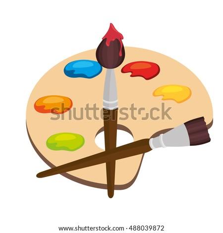 Cartoon Pallette Paint Color Brush Isolated Stock Vektorgrafik