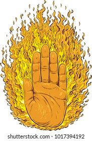 Cartoon of the palm of a human hand surrounded by raging, burning flames.