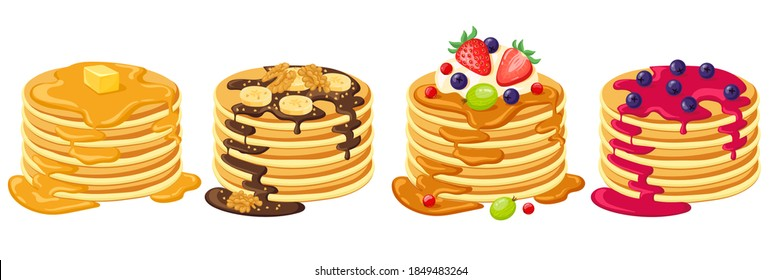 Cartoon pancakes. Stacks of tasty pancakes with maple syrup, butter, chocolate syrup, fruits and jam. Delicious breakfast food vector illustrations. American brunch with berries and nuts