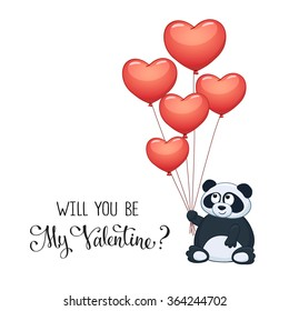 Cartoon panda with balloons in heart shape. Valentine's day greeting card. Will you be my Valentine?
