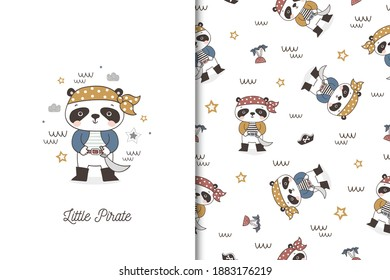 Cartoon panda boy pirate character. Cute card and seamless background pattern set. Hand drawn surface design vector illustration.