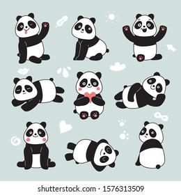 Cartoon panda. Cute panda bear, happy baby animals, lazy funny chinese bears posing. Friendly mascot, vector characters set