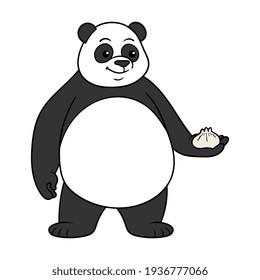 Cartoon Panda Holding Baozi Illustration