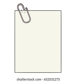 cartoon paper with paperclip