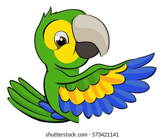 A cartoon parrot bird character mascot peeking around a sign and pointing with a wing