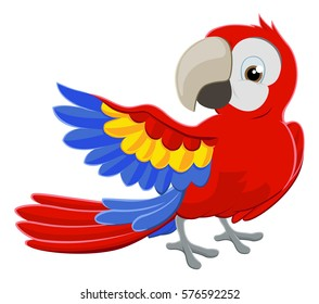 Cartoon parrot character pointing with its wing
