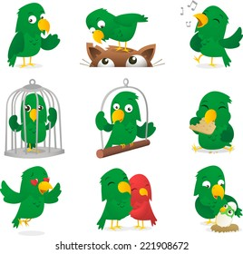 Cartoon parrot collection vector illustration.