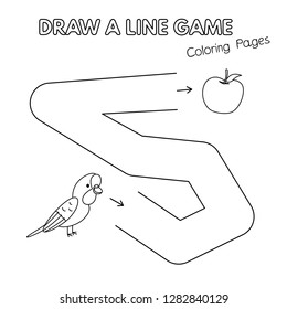 Cartoon parrot game for small children - draw a line. Vector coloring book pages for kids