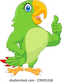 Cartoon parrot giving thumb up