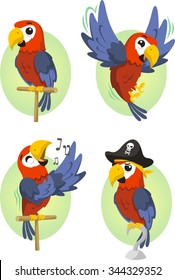Cartoon parrot set
