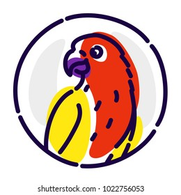 A cartoon parrot. Vector flat icon. Image is isolated on white background. A bird parrot in a circle. Symbol, emblem, brand, logo for the company.