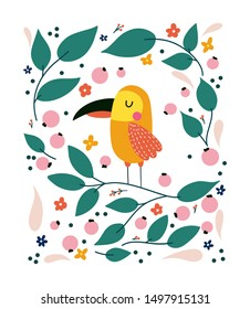 Cartoon parrot vector illustration, tropical leaves. Childish print for T-shirt, cloth, baby wear, kid's room decoration.