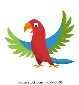 Cartoon parrot wild animal bird. Different colors flying parrot  with wings cute character vector illustration