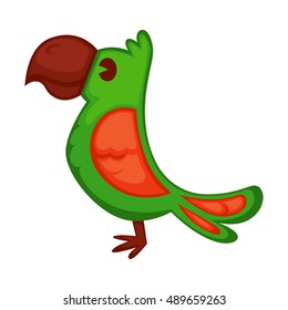 Cartoon parrot wild green bird. Tropical flying ara. Cartoon exotic bird vector illustration.