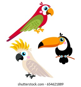 Cartoon parrots set and parrots wild animal birds isolated on white background. Vector illustration