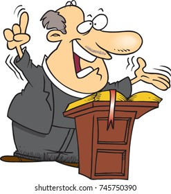 cartoon pastor preaching from a pulpit
