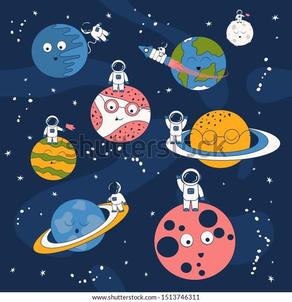 cartoon pattern astronaut on spaceship 600w 1513746311