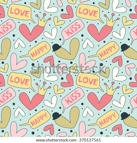 Cartoon patterns for cute wallpapers with hearts. Speech bubble love heart. Great for Baby