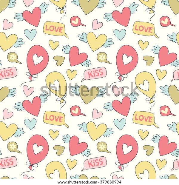 Cartoon Patterns Cute Wallpapers Hearts Speech Stock Vector Royalty