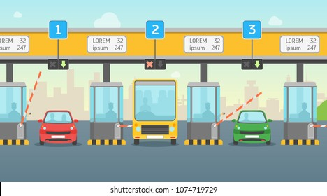 Cartoon Pay Road Toll Card Poster Highway Traffic Transport Concept Flat Design Style for Ad. Vector illustration of Gate