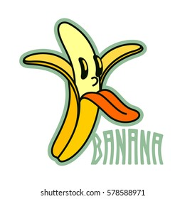 Cartoon peeled banana logo templates. Banana man. Vintage style banana badges and labels. Black and white logo templates for your design. Vector illustration isolated on white background.