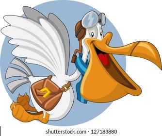 Cartoon pelican with an open big beak flying carrying a bag